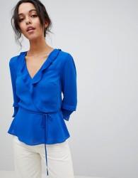 Oasis Wrap Front Tie Waist Blouse - Blue