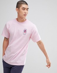 Obey Artist Series T-Shirt With Rose Chain Back Print In Pink - Pink