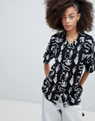 Obey Button Front Shirt With Animal Skeleton Print - Black