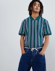 Obey Diver Striped Polo Shirt With 1/4 Zip In Green - Green