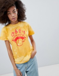Obey Relaxed T-Shirt With Tongue Graphic In Bleach Wash - Yellow