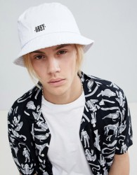 Obey respect bucket hat in stone - White