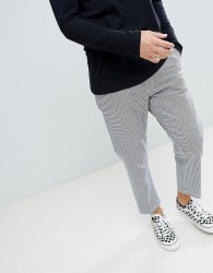 Obey Straggler houndstooth pant in straight fit - Black