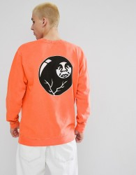 Obey Sweatshirt With 8 Ball Icon Back Print In Orange - Orange