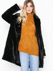 Object Collectors Item Objviolet L/S Faux Fur Coat a Div Faux Fur Sort