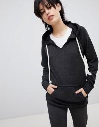Ocean Drive Burnout Kangaroo Pocket Sweater In Grey - Black
