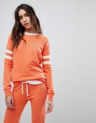 Ocean Drive Burnout Stripe Sweat Top In Orange - Orange
