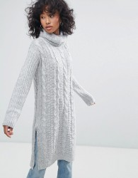 Oeuvre Cable Knit Roll Neck Jumper Dress - Grey