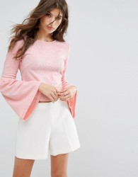 Oeuvre Flare Sleeve Blouse - Pink