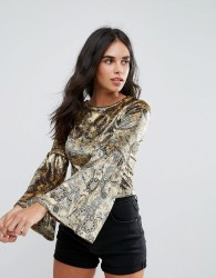 Oeuvre Flare Sleeve Printed Top - Yellow