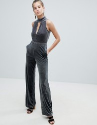 Oeuvre Flared Jumpsuit With Keyhole Detail - Grey
