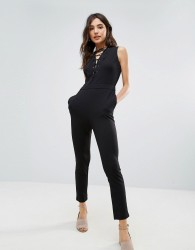 Oeuvre Lace Up Front Jumpsuit - Black