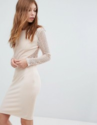 Oeuvre Long Sleeve Lace Dress - Orange