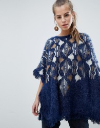 Oeuvre Patterned Poncho Jumper With Fringe Detail - Blue