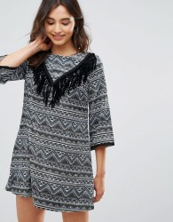 Oeuvre Printed And Fringe Dress - Green