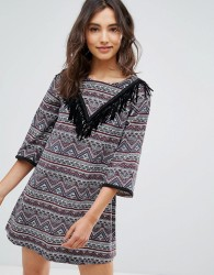Oeuvre Printed And Fringe Dress - Red