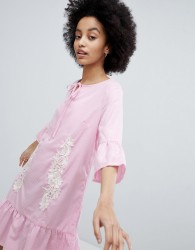 Oeuvre Smock Dress With Peplum Hem - Pink