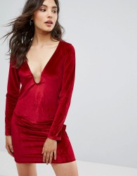 Oeuvre Velvet Dress - Red