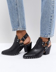 Office Aaron Black Leather Harness Detail Western Boots - Black