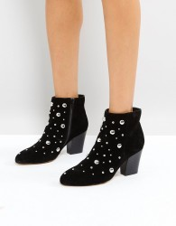 Office Able Leather Studded Boots - Black