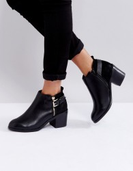 Office Academy Buckle Ankle Boots - Black