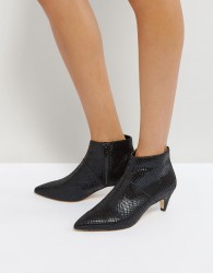 Office Acid Kitten Heel Boots - Black