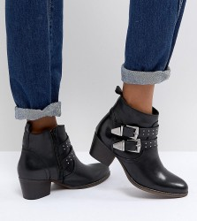 Office Alexia Black Leather Western Ankle Boots - Black
