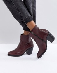 Office Angie Burgundy Heeled Leather Ankle Boots - Red
