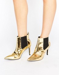 Office Angles Gold Mirror Heeled Ankle Boots - Gold