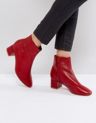 Office Aphid Leather Ankle Boots - Red
