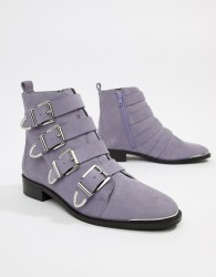 Office Archive four buckle lilac suede ankle boots - Purple