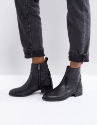 Office Ashleigh Black Leather Flat Ankle Boots - Black