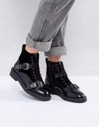 Office Asteroid Leather Buckle Boots - Black
