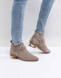 Office Atlas Taupe Suede Western Ankle Boots - Grey
