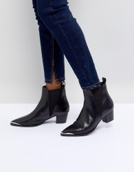 Office Azalea Black Leather Western Tipped Boots - Black