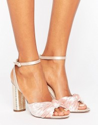 Office Blush Velvet Heeled Sandals - Pink