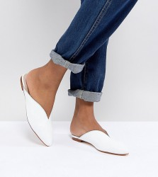 Office Farah White Leather Slip On Flat Mules - White