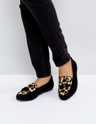 Office Fedora Leopard Print Flat Suede Shoes - Black