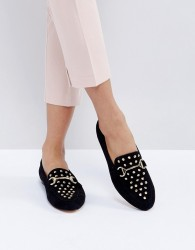 Office Flash Studded Loafers - Black
