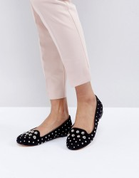 Office Floodlight Studded Suede Flat Shoes - Black