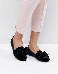 Office Fortress Bow Flat Shoes - Black