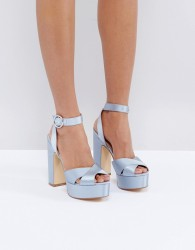 Office Harley Satin Platform Sandals - Blue