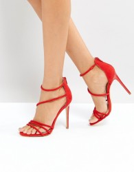 Office Harness Heeled Sandals - Red