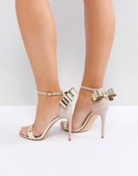 Office Harriet Gold Mix Bow Detail Heeled Sandals - Gold