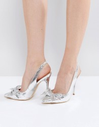Office Harty Bow Heeled Court Shoes - Silver