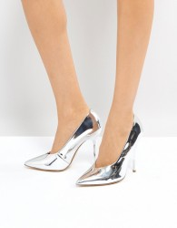 Office High Flyer High Vamp Pointed Shoes - Silver