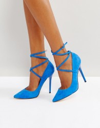 Office Hilda Suede Pointed Court Shoes - Blue