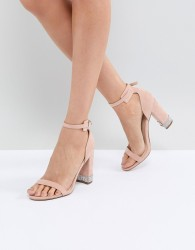 Office Hip Blush Embellished Block Heeled Sandals - Pink