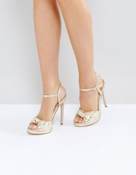 Office Hold Tight Gold Platform Sandals - Gold