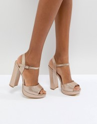 Office Hunk Rose Gold Sparkle Platform Sandals - Gold